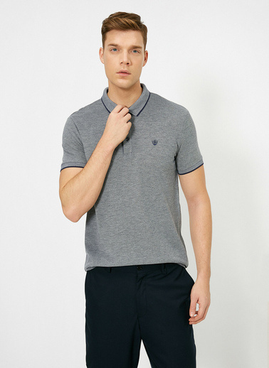 Koton Polo Yaka Isleme Detayli Desenli Kumas Slim Fit T-Shirt Lacivert